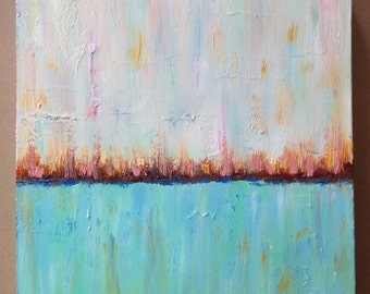 """Abstract Canvas Art,Small Abstract Painting,12x12""""oil painting,Abstract Oil Painting, SuzzannaFrank, Morning Sunrise"""