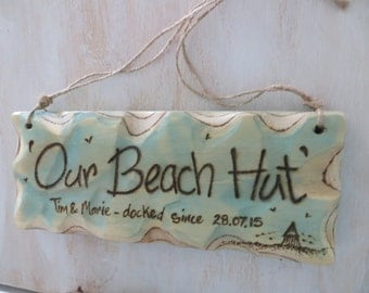 Personalised Sign * Driftwood Style * Plywood * Beach Hut Sign * Illustrated Sign *
