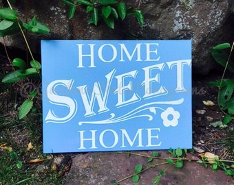 Wooden Sign, Home Sweet Home, Blue Sign, Welcome, Wall Sign, Wall Decor, Quote, Wood Sign, Inspirational, Home Sign, Home Decor