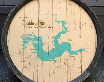 Caddo Lake, TX Map Barrel End