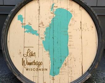 Lake Winnebago, WI Map Barrel End