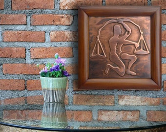 Libra Zodiac Sign, Copper Plaque, Picture of Libra , copper picture, Libra art picture, metal picture of libra, zodiac art libra