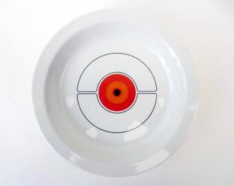 Rosenthal Thomas ECLIPSE dinner plates Mid Century Modern Atomic Space Age Bone china vintage 70s Modernist white Orange dinnerware lot