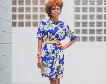 Vintage Floral Print Dress w/ teal vintage earrings!!!