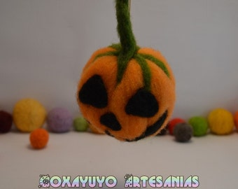 Needlefelt pumpkin, Halloween decoration, needlefelt, handmade, sheep wool, felted sculpture