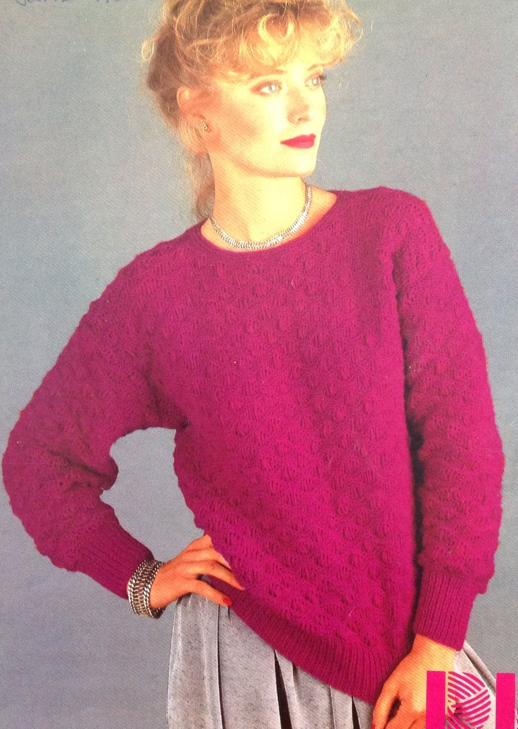 a0b7de44887ab8 Knitting Pattern Ladies DK  Light Worsted Weight 8 Ply Jumper  Sweater Pullover  size 32-38in 81-97cm from makenshare on Etsy Studio
