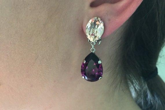 Swarovski Vintage Rose and Amethyst Crystal Clip On Dangle Earrings