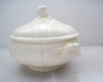 French Ironstone Antique Soup Tureen with Lid Sarreguemines/Digoin in Perfect Condition