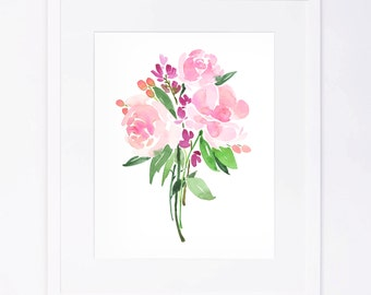 Pink Watercolor Flower Bouquet Print