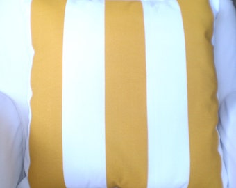 OUTDOOR Pillow Covers, Throw Pillows, Cushions, Yellow White Stripe, Outdoor Cushions,  Beach Decor, Patio Pillows, One or More All Sizes