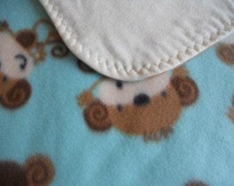 Monkeys Monkeys Monkeys. Cute adorable monkey blanket. Fleece and flannel blanket.