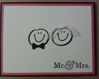 "Handmade Smiley Bride and Groom wedding greeting card ""Mr. & Mrs."""