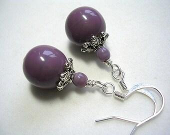Purple Earrings Plum Earrings Light Purple Earrings Dangle Earings Purple Jewelry Earrings Amethyst Plum Czech Glass Dangles Wire Wrapped
