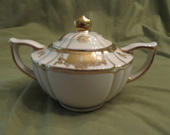 Sadler gold and ivory covered sugar bowl made in England/ hand painted and numbered