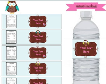 Ow party-water bottle labels-personalize-birthday decorations-dessert table-INSTANT DOWNLOAD & EDITABLE template-Type your own text