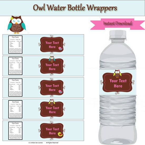 owl party water bottle label wrappers instant download editable template type your own text. Black Bedroom Furniture Sets. Home Design Ideas