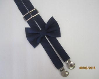 Boy navy blue suspenders, Boy navy blue bow tie, boy suspenders match set bow tie, Ring bearer navy blue suspenders, navy blue suspenders