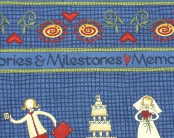 Fabric 1/2 Yard – Memories and Milestones - Debbie Mumm - South Sea Imports - Blue