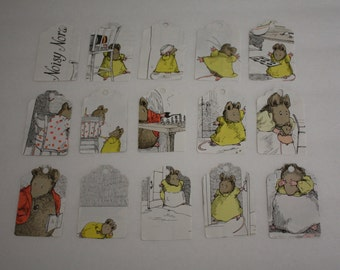 Die Cut Repurposed Children's Noisy Nora Book Tags (Set of 10)