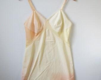 Grunge VINTAGE full SLIP MINI dress / Courtney Love hand-dyed genuine 1960s / pastel ombre citrus 12