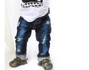 Sasha Jeans - Baby/toddler hand-distressed jeans for boys or girls