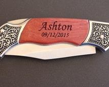 9 Groomsmen Knives, Personalized Wood Handle Pocket Knife Hunting Knives, Groomsman Gift, Best Man Ring Bearer Gift