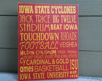Iowa State Cyclones Wood Sign - 11 x 14
