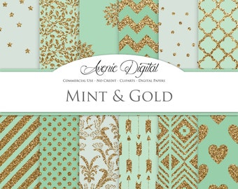 Gold and Mint Digital Paper. Scrapbooking Backgrounds, Mint Green patterns for Commercial Use. Glitter digital paper. Printable Download.