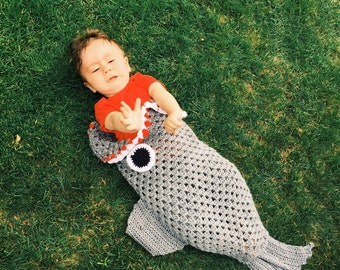 Shark blanket- Shark Photo Prop- Shark Sleeping Bag