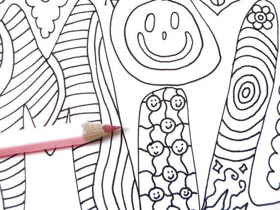 Pagine Da Colorare Per Adulti Libro Modello Astratto: Libro Colorare Adulti Bambini Smile Disegno Zen Di