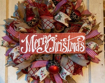 Burlap Christmas wreath burlap wreath deco burlap mesh merry christmas