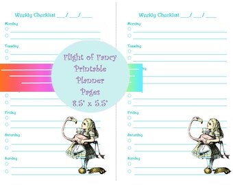 Small Printable - Alice in Wonderland Weekly Checklist - Planner Page (PDF) Downloadable INSTANT DOWNLOAD Planner Page Daily Organizer Page
