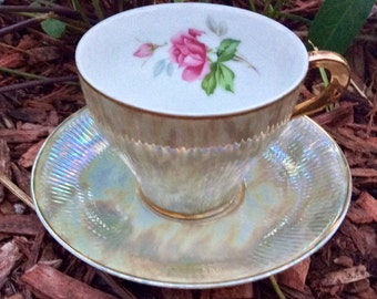 Vintage Ribbed Irridescent Army Green Teacup and Saucer Japan