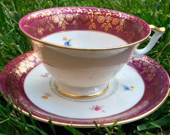 Stunning Bavarian Teacup and Saucer in Sumptuous Red and Gold
