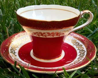 Regal Red and Gold Corset Aynsley Teacup and Saucer