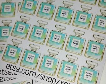 20 cute fashion perfume bottle stickers for Kikki-k, filofax, Erin Condren,  midori, fauxdori, planners.