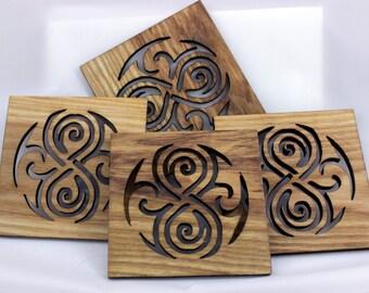 Gallifreyan script coasters set of 4 (Ash)