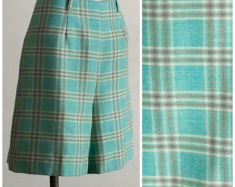 1960s blue plaid high waisted shorts