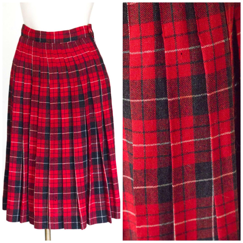 1950s plaid wool pleated skirt
