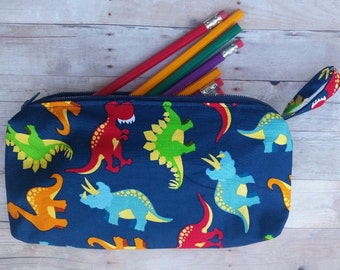 Dinosaur Pouch, Dinosaur  Pencil Case, Crayon Marker Case, Dinosaur Pencil Bag, School Supply Bag