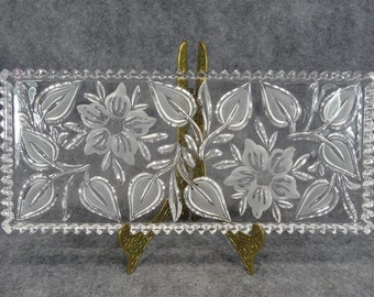 "Magnificient Etched Crystal 13"" Serving Tray"