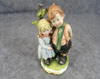 Vintage Porcelain Brother and Sister Figurine
