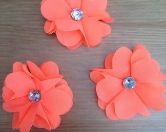 Neon Orange Chiffon Flower Hair Clips / Brooch