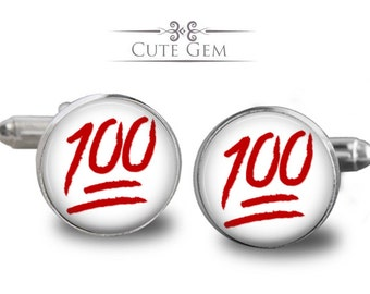 SUPER SALE - 100 Percent Emoji - Silver Glass Cufflinks