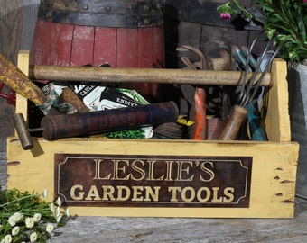 Wooden Tote, Personalized, Wood Toolbox, Wood Box, Garden Tools, Rusty Sign