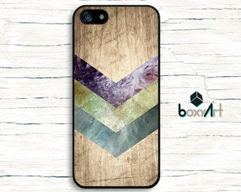 iPhone Case - Geometric Textured Stripes on Wood Texture. - iPhone 4/4s iPhone 5 iPhone 5c iPhone 5s iPhone 6 iPhone 6 Plus 6s iPhone SE