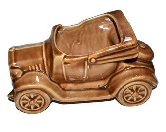 Pottery Convertible Roadster Car McCoy Planter Brown Pottery