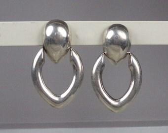 Vintage Designer Sterling Silver 925 Earrings Door Knocker signed
