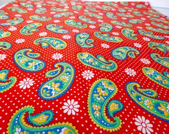 23 x 40 Fabric Paisley Red Blue Green Yellow Vintage Yardage