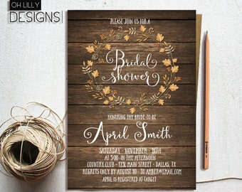 Rustic Bridal Shower Invitation Printable, Fall Bridal Shower Invitation, Autumn Invitation, Rustic Bridal Shower Fall, Country Bridal